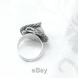 Vintage Scandinavian STERLING SILVER Snake Ring Unusual LARGE Detailed Size R