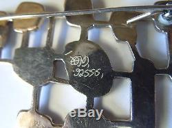 Vintage Scandinavian Sterling Enamel Modernist Pin Hand Initialed. 925ss