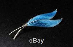 Vintage Scandinavian Sterling Silver Blue Enamel Leaf Brooch Ivar Holth Norway