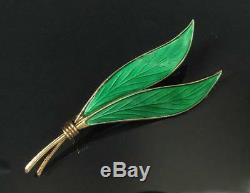 Vintage Scandinavian Sterling Silver Green Enamel Leaf Brooch Ivar Holth Norway