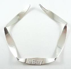 Vintage Signed Bent Knudsen, Denmark Modernist Sterling Silver Choker Necklace