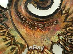 Vintage Signed DAVID ANDERSEN NORWAY STERLING 925 ENAMEL Bird of Paradise BROOCH