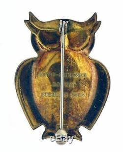 Vintage Signed David Anderson Norway Sterling Silver Guilloche Enamel Owl Brooch
