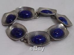Vintage Signed Georg Jensen Matching Necklace & Bracelet Blue Stones Beautiful