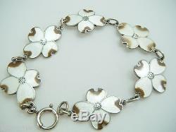 Vintage Signed Sterling Enamel Dogwood Blossom Bracelet