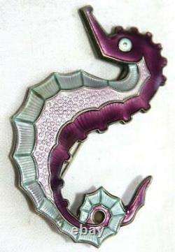 Vintage Silver Norwegian David Andersen Seahorse Brooch Blue, Pink, Purple Enamel