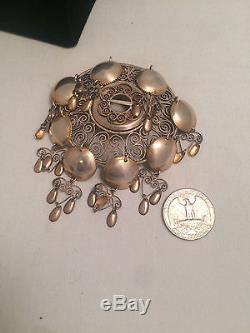Vintage Solje very Large Brooch Pin 830s Silver 29g, Norwegian Bunad 5.5 centi