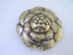 Vintage Sterling GEORG JENSEN Floral Pin / Brooch with gold wash 176 Denmark