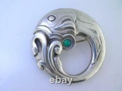 Vintage Sterling GEORG JENSEN Pin / Brooch Fish with Green Cabochon Denmark