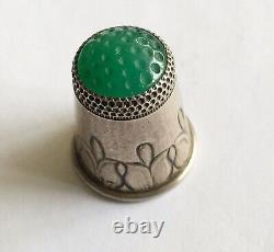 Vintage Sterling Signed Georg Jensen Decorated Thimble With Green Agate Top