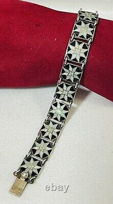 Vintage Sterling Silver Black White Guilloche Enamel Bracelet Scandinavian 925S