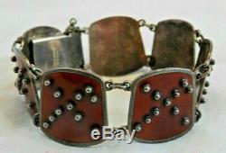 Vintage Sterling Silver & Deep Red Enamel Norwegian Karl A. Rasmussen Bracelet