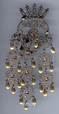 Vintage Sterling Silver Finn Jensen Norway Crowned Heart Dangle Sølje Pin Brooch