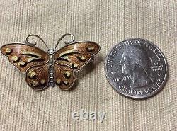 Vintage Sterling Silver Guilloche Enamel Butterfly Pin Brooch Hroar Prydz Norway