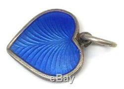Vintage Sterling Silver Heart Charm Blue Enamel Volmer Bahner Vb Denmark