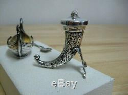 Vintage Sterling Silver Long Ship Salt Dip / Pepper Horn David Andersen MIB