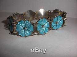 Vintage Sterling Silver Norway Aksel Holmsen Flowers Enamel Jewelry Bracelet