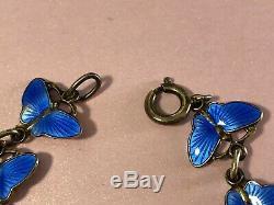 Vintage Sterling Silver Norway Enamel Blue Butterfly Bracelet 925