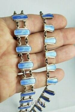 Vintage Sterling Silver Volmer Bahner Denmark Blue Guilloche enamal Complete Set