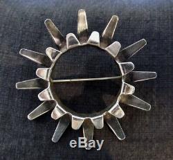 Vintage Sterling Tone Vigeland Norway Sunburst Modernist Pin