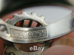 Vintage Swedish Bengt Hallberg Abstract Sterling Citrine Modernist Ring