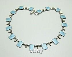 Vintage Vb Bahner Sterling Denmark Guilloche Baby Blue Enamel 15.25 Necklace