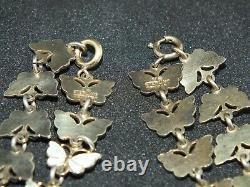 Vintage Volmer Bahner Sterling & White Enamel Butterfly Bracelet And Necklace