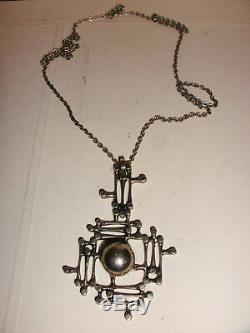 Vintage modernist brutalist Finland Kultateollisuus Ky Lumi 830H Silver necklace