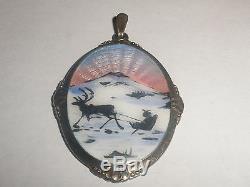 Vintage sterling silver 925 enamel reindeer scenic pendant Arne Nordlie Norway