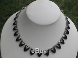 Volmer Bahner Denmark Signed Sterling & Black Enamel Necklace-Mint
