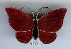 Volmer Bahner Denmark Vintage Sterling Red & Black Enamel Butterfly Pin