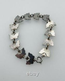 Volmer Bahner Denmark Vintage Sterling Silver Colorful Enamel Butterfly Bracelet