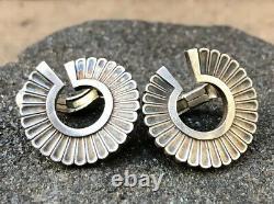 Vtg 1915-32 Modernist Georg Jensen Art Deco Sterling Silver Clip on Earrings #92