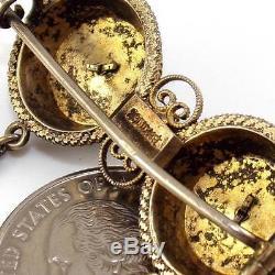 Vtg Antique David Andersen 830 Silver Enamel Flower Filigree Pin Sterling LDA67