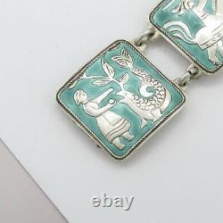 Vtg David Andersen Norway Aqua Green Enamel FAIRYTALE Sterling Silver Bracelet