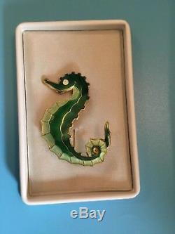 Vtg David Andersen Norway Sterling Silver Vermeil Enamel Seahorse Brooch/pin Box