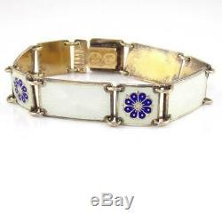 Vtg David Andersen Sterling Silver Modernist Blue White Enamel Panel Bracelet 6