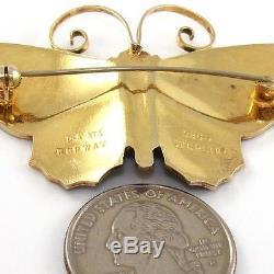 Vtg David Andersen Sterling Silver Modernist Enamel Butterfly Pin Brooch LDA29