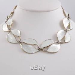 Vtg David Andersen Sterling Silver Modernist Enamel Leaf Necklace 15 LDA8