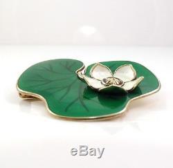 Vtg David Andersen Sterling Silver Modernist Enamel Lily Pad Pin Brooch LDA18