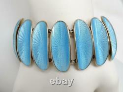 Vtg David Andersen Winnaess MCM Gilt Sterling Blue Guilloche Enamel Bracelet