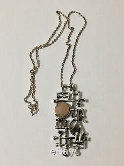 Vtg Finland 830 Silver Brutalist Modernist Pendant Necklace Kultateollisuus Ky
