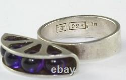 Vtg Finland Sterling Silver Amethyst Kupittaan Kulta Ellis Kauppi Ring Finnish