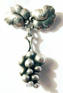 Vtg GEORG JENSEN Sterling GRAPES Dangle Pin #217 A Harald Nielsen Denmark Brooch