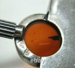 Vtg Hallmarked Scandinavian 925 Sterling Silver Amber Modernist Pendant with Chain