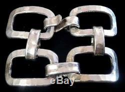 Vtg Jacob Hull B+D Denmark BIG 1-1/8 Wide Link BRACELET Sculptural HANDSOME