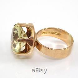 Vtg Kupittaan Kulta 14K Yellow Gold Modernist Green Quartz Cocktail Ring Sz 8.5