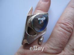 Vtg LAPPONIA Kohoutek Ring Designed by Björn Weckström Sterling Silver & Acrylic