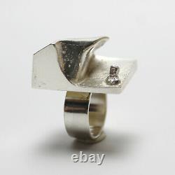 Vtg Lapponia Sterling Silver Space Ring Celias Awakening Weckstrom Finland 1969