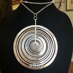 Vtg Mid Century Modernist Sterling Tapio Wirkkala Finland Lg Full Moon Necklace